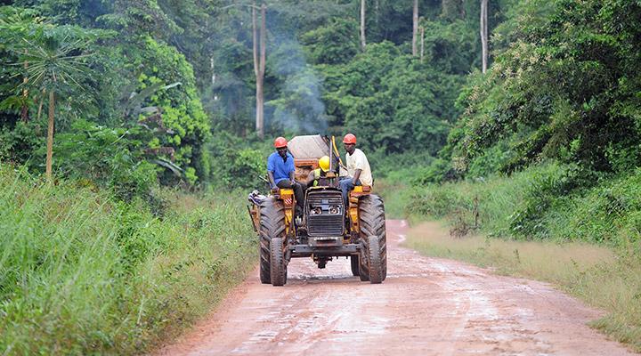 tractor in rainforest Ghana