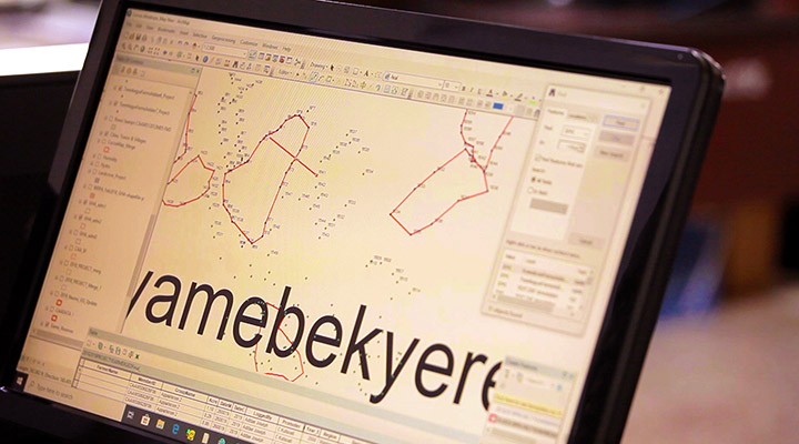 Mapping computer screen Cocoa farm in Ghana